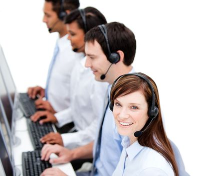 Concentrated businessteam with headset on