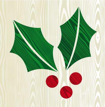 Christmas wooden mistletoe silhouette