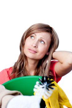 Portrait of a beautiful woman doing housework