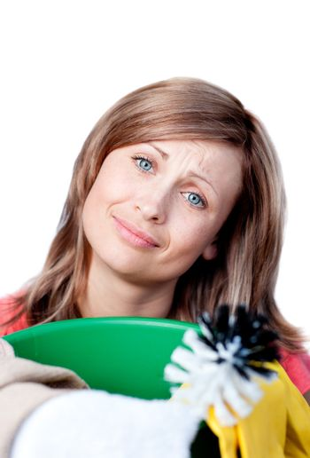 Portrait of a smiling woman doing housework
