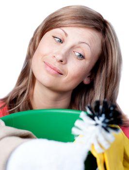Portrait of a cute woman doing housework