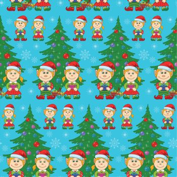 Seamless holiday Christmas background: cartoon child elves with gift boxes near fir tree. Vector