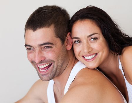 Laughing man with his girlfriend