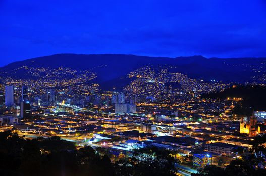 A view of Medellin, Colombia taken during the blue hour.