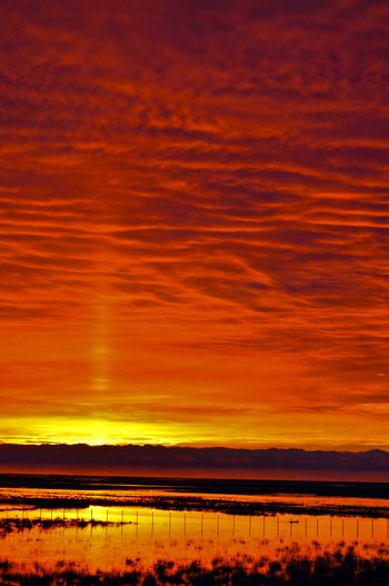 An early morning orange and yellow sunset in Tierra del Fuego, Argentina.