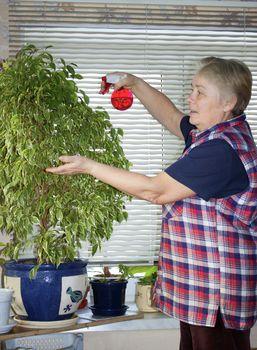 The elderly woman sprinkles plant
