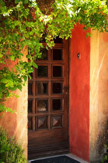 Colorful Provence house entrance door