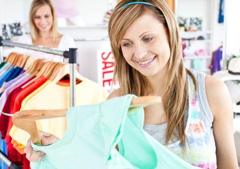 Happy woman selecting item