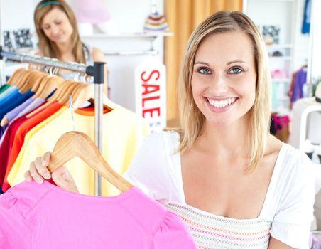 Radiant woman selecting item
