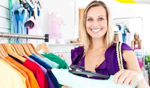 Caucasian woman selecting item