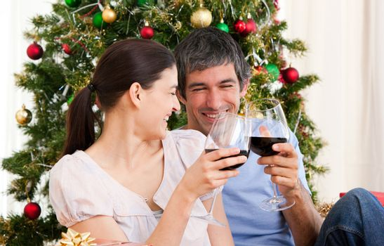 Wife and husband couple drinking wine at homa at Christmas time