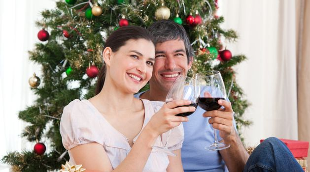 Happy lovers drinking wine at homa at Christmas time