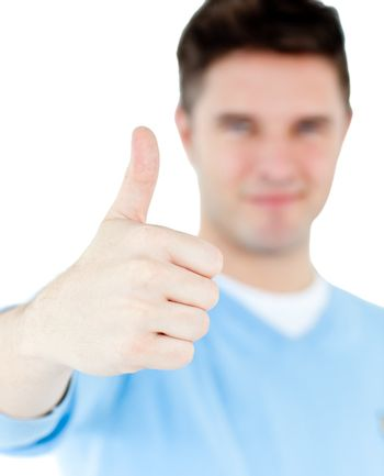 Positive man with thumb up