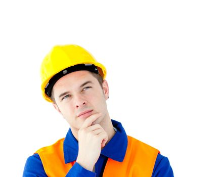 Pensive white collar worker with a hardhat