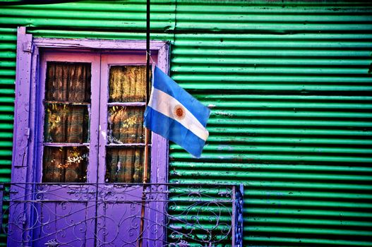 A typical building in the La Boca neighborhood in Buenos Aires, Argentina.