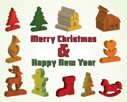 3d wooden Merry Christmas decoration item