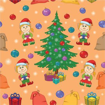 Seamless holiday Christmas background: cartoon girl and boy, fir tree, gifts, balls. Vector