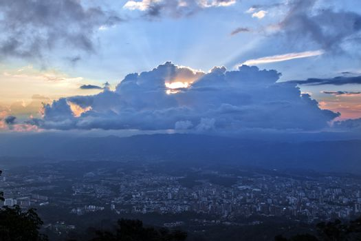 Bucaramanga, Colombia below a dramatic sky.