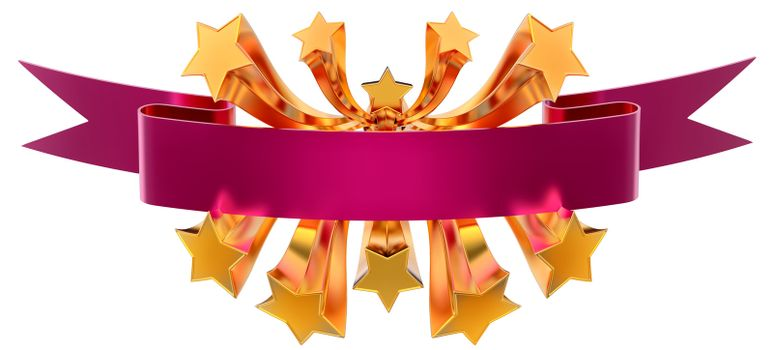 emblem with moving stars and lilac metallic ribbon