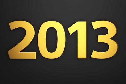 Golden digits 2013 on the black background