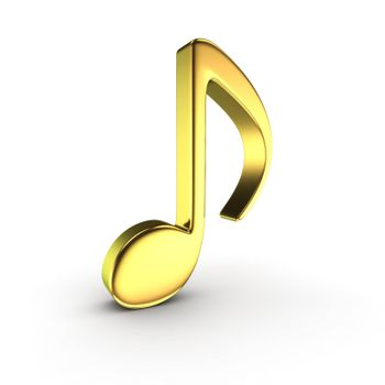 Golden note symbol on the white background