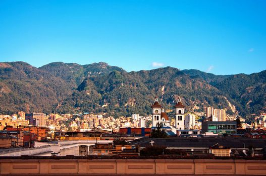 A view of Bogota, Colombia with the Andes mountains in the background.