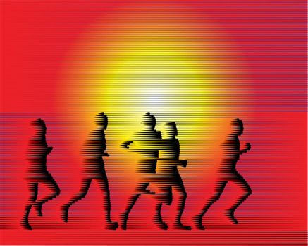 Sports runners background from Lines