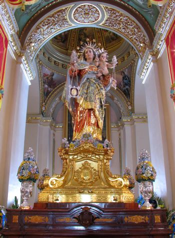 The statue of Our Lady of Mount Carmel in Zurrieq, Malta.