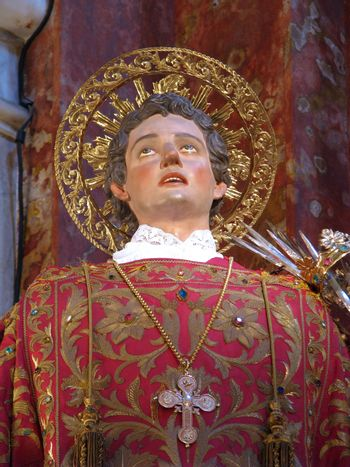 A detail of the statue of Saint Lawrence in Vittoriosa, Malta.
