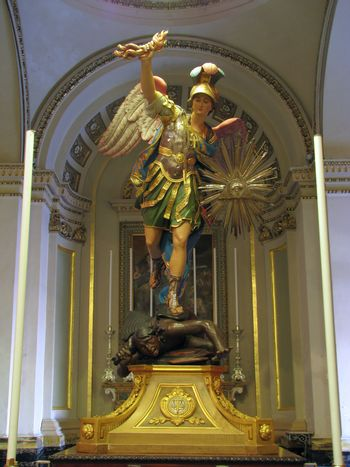 The statue of Saint Michael The Archangel in Cospicua, Malta.