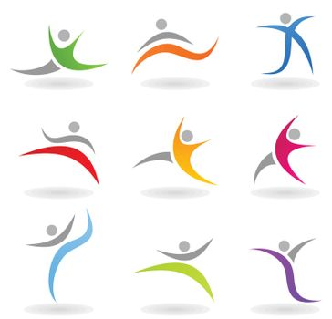 Set of icons of sportsmen of people. A vector illustration
