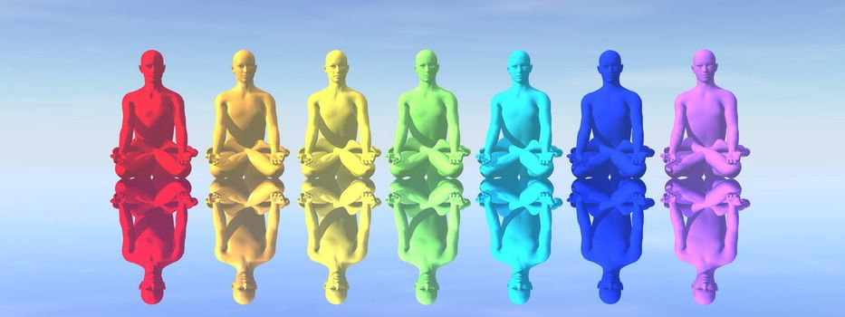 Seven human with chakra colors in meditation with their reflection in blue background