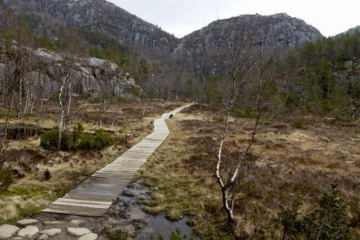 wooden track in rural landscape