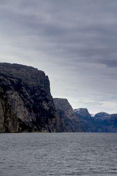 steep rock at coast in norway