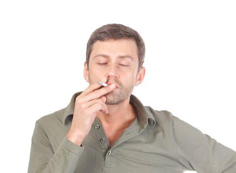 Satisfied man smoking