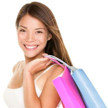 Shopper woman holding shopping bags