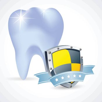 Protected teeth concept, Shiny toothprotective shield symbol