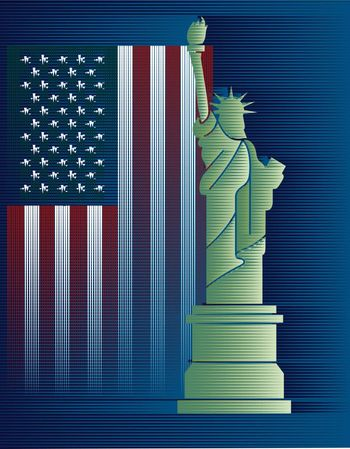 Flags USA and Statue of Liberty background drawing from Lines
