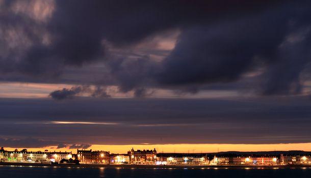 Dusk Weymouth seafront England
