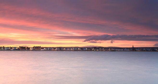 Sunset Weymouth seafront England