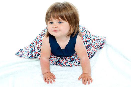 Cute baby girl crawling