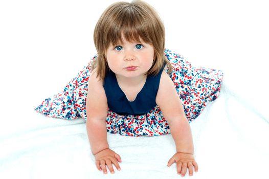 Adorable baby girl crawling
