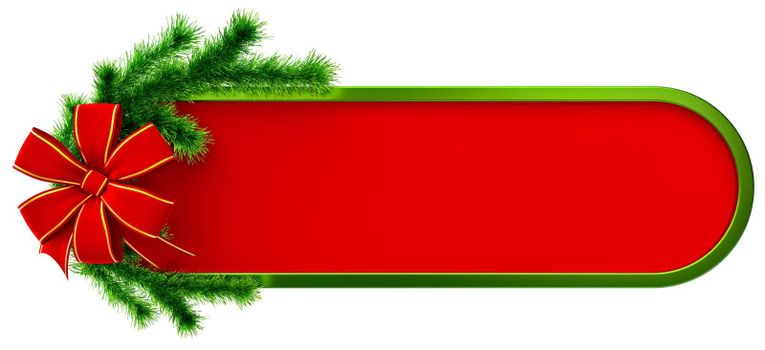 green christmas frame with decorative plastic green fir branch and red bow