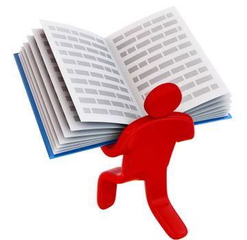rendered man holding open book for self education