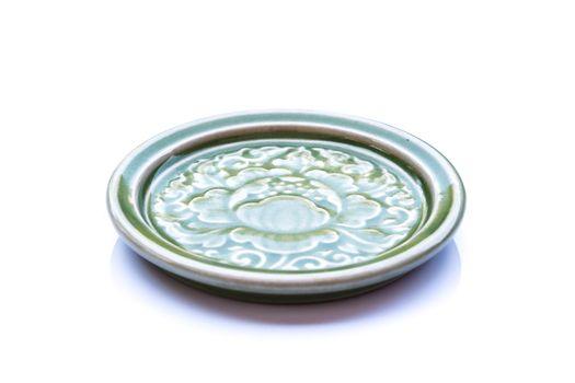 Ceramic Saucer on White Background