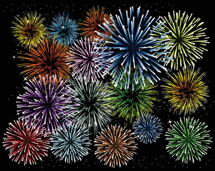 Brightly Colorful Fireworks and Salut on black background