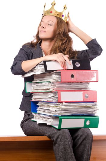 Businesswoman with lots of folders