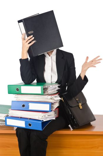 Woman with lots of work