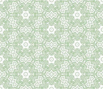 Seamless wallpaper with aztec ornament in green color