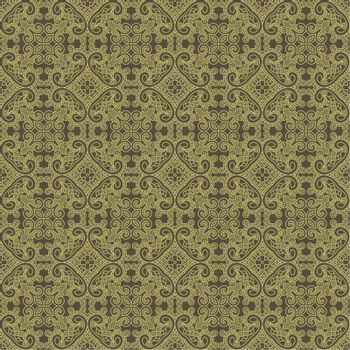 Seamless wallpaper with aztec ornament in brown and gold colors